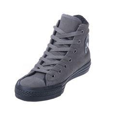 Converse Chuck Taylor 125598C Leather Charcoal/Black Hi Top via Polyvore