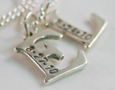 Mother necklace initials of your two children with birthdays (I can add more, too!) $90
