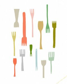 I LOVE YOUR FORKS - kitchen art print, utensils, kitchen poster, chef, cooking, housewarming gift, whimsical art print on Etsy, $20.00