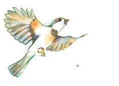 Original Watercolor Painting Sparrow Flying by Krislyndillard