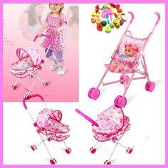 >> Click to Buy << Children Baby Girl Iron Folding Toys Stroller Cart for Girls Dolls with Fruit Vegetable Models Birthday Gift Pushchair #Affiliate
