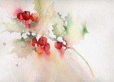 warercolor christmas cards | Christmas Holly - Watercolour | Annette Price | Painters Online