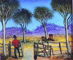 © Pro Hart - Open Gate Australian Painting, Australian Artists, Most Popular Artists, Perth Western Australia, Traditional Landscape, Indigenous Art, Aboriginal Art, Painting Art, Impressionist