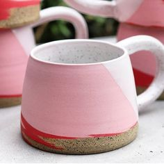 Pink mugs are the best. By ❤ Pink mugs are the best. Ceramic Cafe, Ceramic Mugs, Pottery Mugs, Ceramic Pottery, Earthenware, Stoneware, Cerámica Ideas, Clem, Clay Mugs