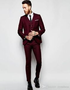 48c8fbc06cf7 2019 Burgundy Formal Wedding Men Suits for Groomsmen Wear Three Piece Trim  Fit Custom Made Groom Tuxedos Evening Party Jacket Pants Vest