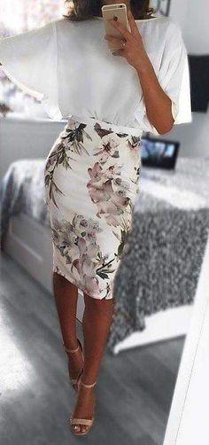 Pretty top and pencil skirt.