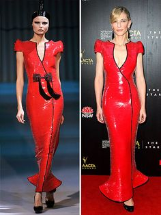 High-Fashion Faceoff: Runway vs. Red Carpet | CATE IN ARMANI PRIVÉ | The catwalker in this red sequin gown may boast two dramatic black tassels and a wrapped sky-high pony, but Cate brings something else to the table at the AACTA Awards: va-va-voom cleavage.