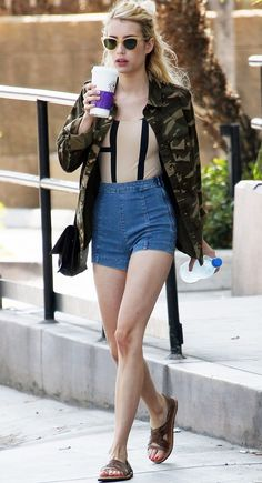 Emma Roberts styles a $25 Forever 21 jacket perfectly for an LA summer afternoon errand run