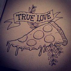 #InkTober day 14 #inktober2go #pizza #love #oldschool #tattoo by Jenny Defensor