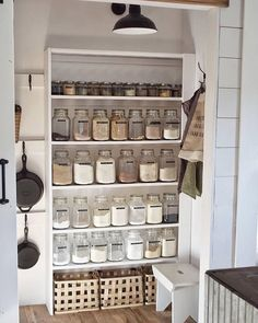 Organized farmhouse style pantry with shiplap walls, wood shelving, and labeled glass jars. Kitchen Organization Pantry, Home Organisation, Kitchen Storage, Küchen Design, House Design, Interior Design, Decoration Inspiration, Pantry Inspiration, Pantry Design