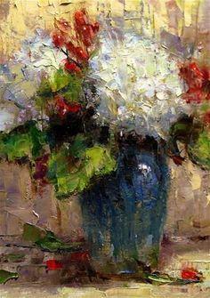 """Daily Paintworks - """"Hydrangeas and Coffee Bean Plant"""" - Original Fine Art for Sale - © Julie Ford Oliver"""