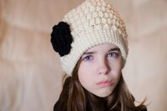 Antique White Bobble Beanie from Etsy $20