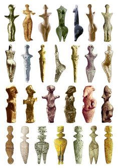 Goddess Sculptures, 5300-4200 BCE // The Venus (or woman) of Willendorf is missing from the list; Odd, considering its on of the most famous sculptures dating back to 24,000 to 22,000 BC.