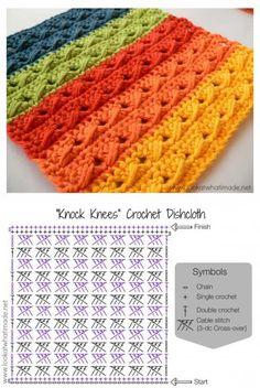 Crochet Cable Stitch, Crochet Stitches Free, Crochet Motif Patterns, Crochet Diagram, Crochet Chart, Crochet Designs, Knitting Patterns, Crochet Dishcloths, Crochet Projects
