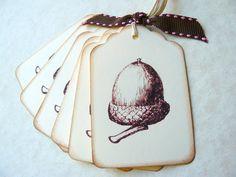 Vintage Acorn Gift Tags, Autumn Wedding, Shower Favors, Fall, Thanksgiving, Harvest, Oak Tree, Place Cards. $4.50, via Etsy.