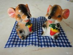 Две симпатичные мышки из фарфора. Набор для специй. Размер - 8 см. НОВЫЕ. Цена - 250 руб.