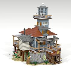 """From OG pinner-""""The Lighthouse My story For this modular (creator) building was that the The Lighthouse is based for a creation to fit in the Sea front Village. I built this one on Lego Dig. Lego Display, Lego Modular, Lego Design, Lego City, Legos, Lego Beach, Instructions Lego, Casa Lego, Box Container"""