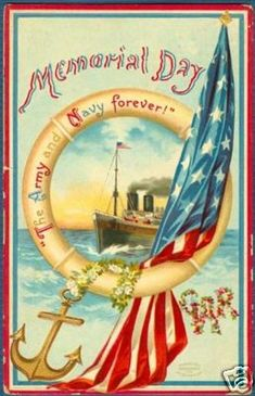 "*VINTAGE ~ Postcard commemorating Memorial Day  Enter The Saturday Evening Post ""Tribute to Our Troops"" contest: https://apps.facebook.com/easypromos/promotions/79941"
