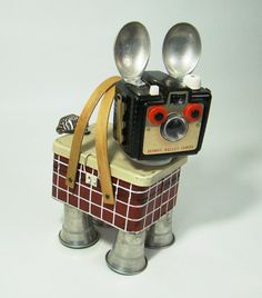 BROWNIE - Found Object Robot  Sculpture Dog Metal Recycled Repurposed Folk Art