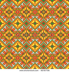 stock photo : seamless embroidered good like handmade cross-stitch ethnic Ukraine pattern. Raster version over 20MPx