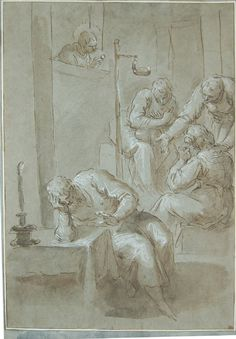 Palma Giovane (Jacopo Negretti), c.1548-1628, Italian, St Nicholas of Bari giving a dowry to three daughters whose despairing father is seated in the foreground, 1563-1628.  Pen and brown ink, and brown and grey wash, heightened with white, over black chalk, on green-grey paper; 30 x 21.1 cm.  British Museum, London.  Mannerism.