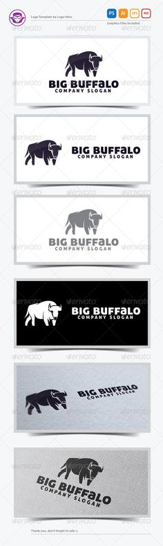 Big Buffalo  Logo Design Template Vector #logotype Download it here: http://graphicriver.net/item/big-buffalo-logo-template/5708624?s_rank=1609?ref=nexion