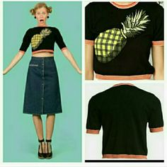 "Vena Cava Pineapple crop top! (Size Med) NWT **last medium** Brand New! Viva Vena by Vena Cava top! Contrast banding and all a juicy pineapple bring a retro touch to a slightly cropped cotton sweater! Pair this cutie with jeans,denim shorts, or a skirt add a pair of heels and you are ready to go!  Make this fun top part of your wardrobe! Approx 18"" long 100%cotton ***This listing is for a medium*** Viva Vena by Vena Cava Tops Crop Tops"