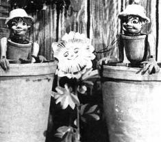 """""""Bill"""" and """"Ben"""", the flowerpot men, with """"Little weed"""". '50s TV."""