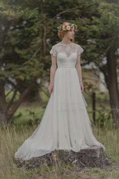 Lace flutter sleeve and floral crown