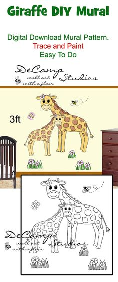 DIY Jungle Giraffe and Baby Wall Art Mural Pattern Printable Digital Download for baby girl nursery or kids room decor. Do it Yourself Trace and Paint by Number. Also great for church nursery, childcare, pediatric office, and preschool #decampstudios