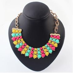 Multi-colored #Statement #Necklace, with #Rhinestone, Real Gold Plated.