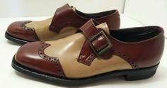 Mens Vintage Bob Smart Sz 8 D tan brown dress oxford loafer shoes #BobSmart #Oxfords