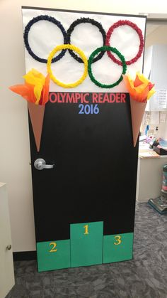 Olympic Readers 2016 by Susan Chada Senior Olympics, Office Olympics, Summer Olympics, School Decorations, School Themes, Olympic Idea, Olympic Games For Kids, Olympic Crafts, Sports Theme Classroom