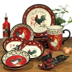 red black and white  rooster  dishes | Details about La Provence Rooster Tuscan or French Country Pasta ...