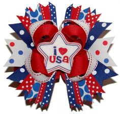 I Love USA Layered Boutique Bow ABSD by bowsalamode on Etsy, $10.99