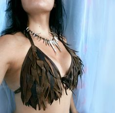 Dream Warriors worn out brown leather halter bra bikini top. Slashed & fringed patchwork. Mad max post apocalyptic elf voodoo shaman costume...