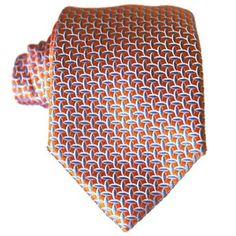 Orange & sky blue pattern tie in jacquard silk
