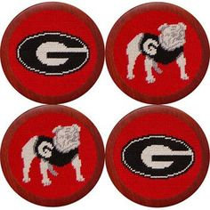 University of Georgia Needlepoint Coasters in Red by Smathers & Branson