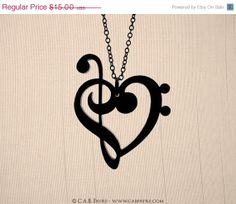 Cyber Monday SALE Treble & Bass Clef Heart Necklace by CABfayre, $10.50