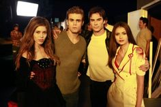 Kayla Ewell, Paul Wesley, Ian Somerhalder, and Nina Dobrev Paul Wesley Vampire Diaries, Vampire Diaries Stefan, Vampire Diaries Cast, Vampire Diaries The Originals, Nina Dobrev Vampire Diaries, Vampire Diaries Poster, Vampire Diaries Wallpaper, Stefan Salvatore, Hayley And Elijah