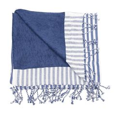 Stripy pestemal towel cotton in blue and white. Striped Towels, Blue Stripes, Blue And White, Blanket, Summertime, Cotton, Sea, Collection, Blankets