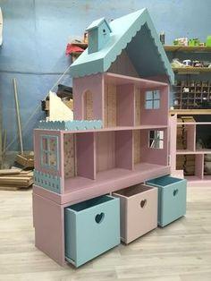 Кукольный домик-стеллаж на 6 комнат с узким комодом – купить в интернет-магазине на Ярмарке Мастеров с доставкой
