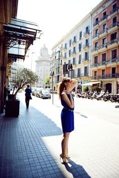 BLUE BARCELONA IN @Dee by @Kristina Kilmer bazan wearing @Dee dress @James B choo heels @JeffandVita Clawson fede Bracelet. #kristinabazan #blogger #look #beautiful #style #look #fashion #mango #fashionshow