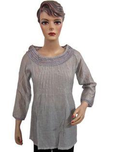 Bohemian Grey Cotton Blouse Boat Neck Lace Pleated Shirt Top Boho Tops Gypsy Hippie Fashion Small Size Mogul Interior, http://www.amazon.com/gp/product/B008QVIK0M/ref=cm_sw_r_pi_alp_Ofsmqb161Y4FF