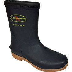 A totally waterproof rubber boot. Designed with rubber vulcanized construction that provides flexibility and durability, waterproof construction, a removable, cushioned, water friendly footbed sock, and Shark Grip™ slip resistant, non-marking rubber outsole.