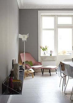 Love this room. Could do so much, eat, read, write, nap, look at the view from the window. Love the light grey walls.