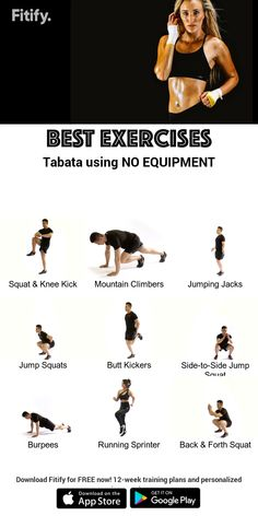 TABATA routine with NO equipment - workout - Fitness Fitness Workouts, Sport Fitness, Yoga Fitness, Training Workouts, Body Workouts, At Home Workout Plan, At Home Workouts, Crossfit Body, Fitness Studio Training