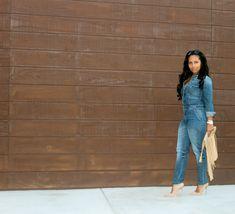 black women blogs denim jumpsuit