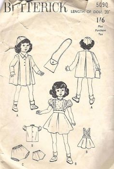 "Vintage 1940/'s Sewing Pattern 20/"" Honey Doll Clothes Coat Cap Bag Skirt Blouse"