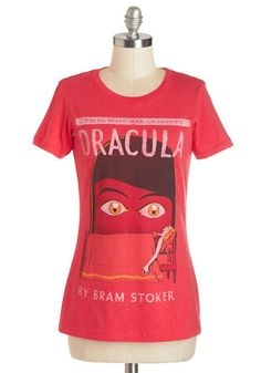 Novel Tee in Dracula by Out of Print - Mid-length, Knit, Red, Novelty Print, Casual, Nifty Nerd, Short Sleeves, Variation, Crew